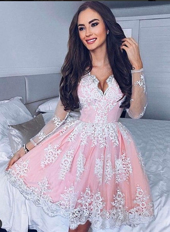 18cb8333577 Cute white lace long sleeve short prom dress