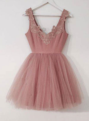Cute pink tulle short prom dress, homecoming dress
