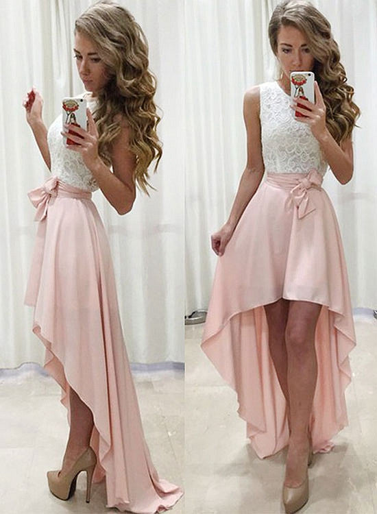 Stylish white and pink high low prom dress, lace evening dress
