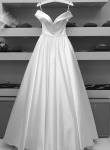 White satin long prom dress evening dress