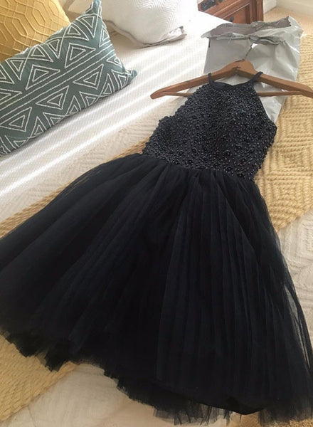 Cute A line black short prom dress, homecoming dress