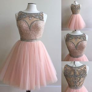 Cute pink sequins tulle short prom dress, pink evening dress