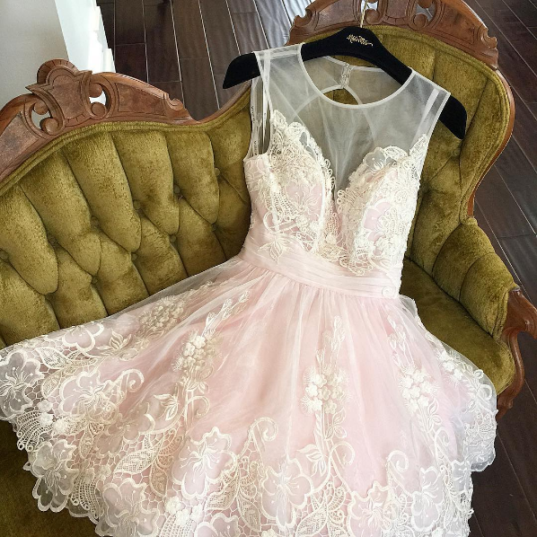 Cute lace short prom dress, lace homecoming dress