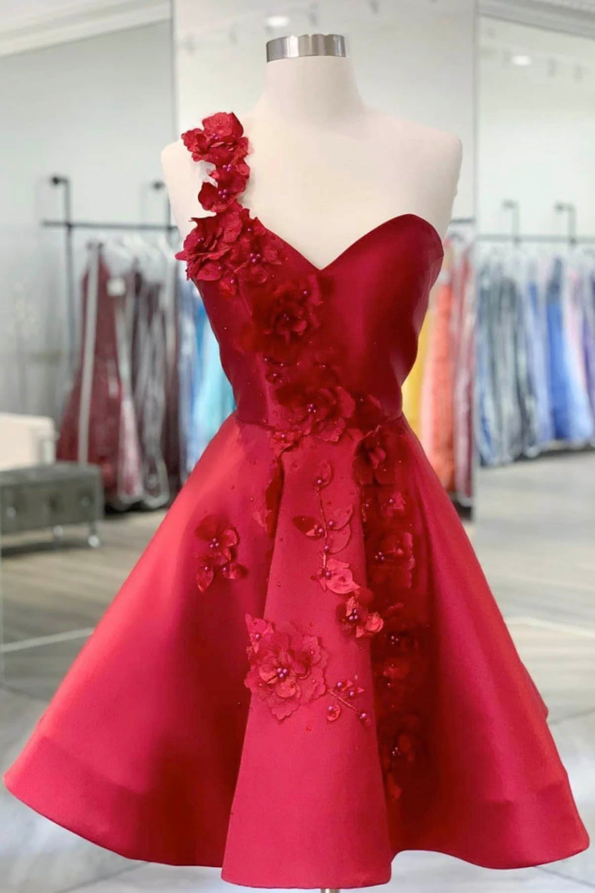 Red satin short prom dress red homecoming dress