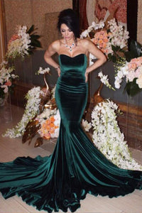 Green velvet long prom dress mermaid evening dress