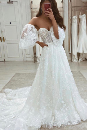 White A line lace long prom dress evening dress