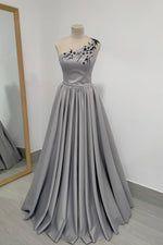 Gray satin long A line prom dress one shouder evening dress