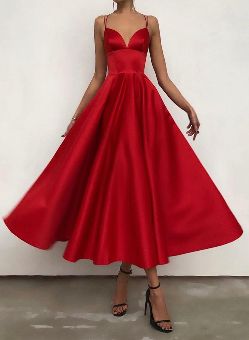 Red satin short A line prom dress red evening dress