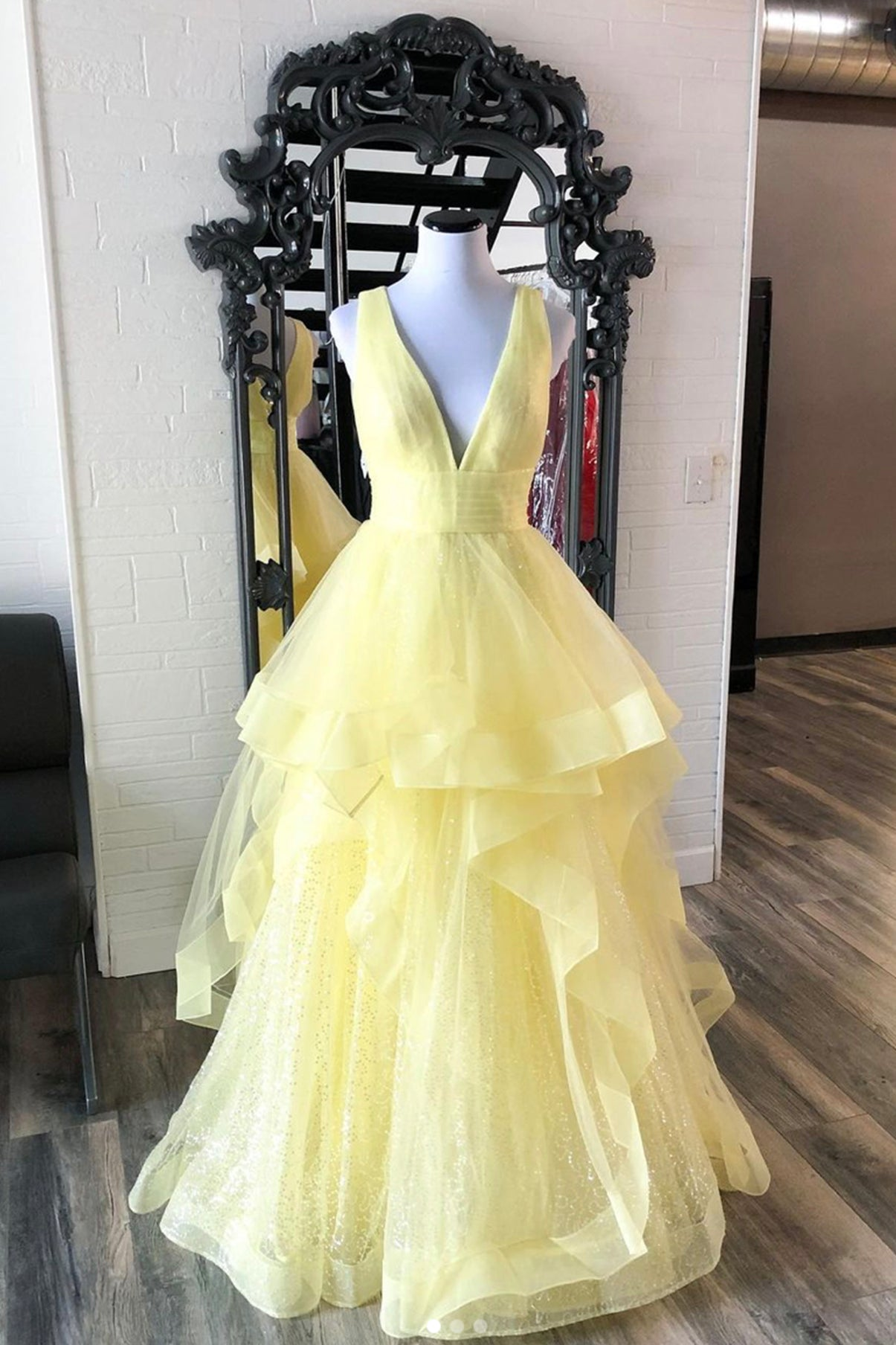 Yellow v neck tulle long A line prom dress evening dress