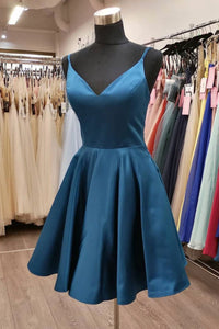 Blue satin short A line prom dress homecoming dress