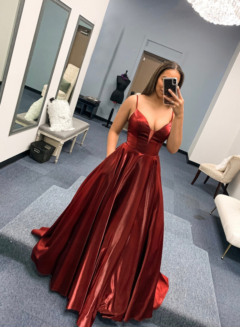 Burgundy satin long prom dress simple evening dress