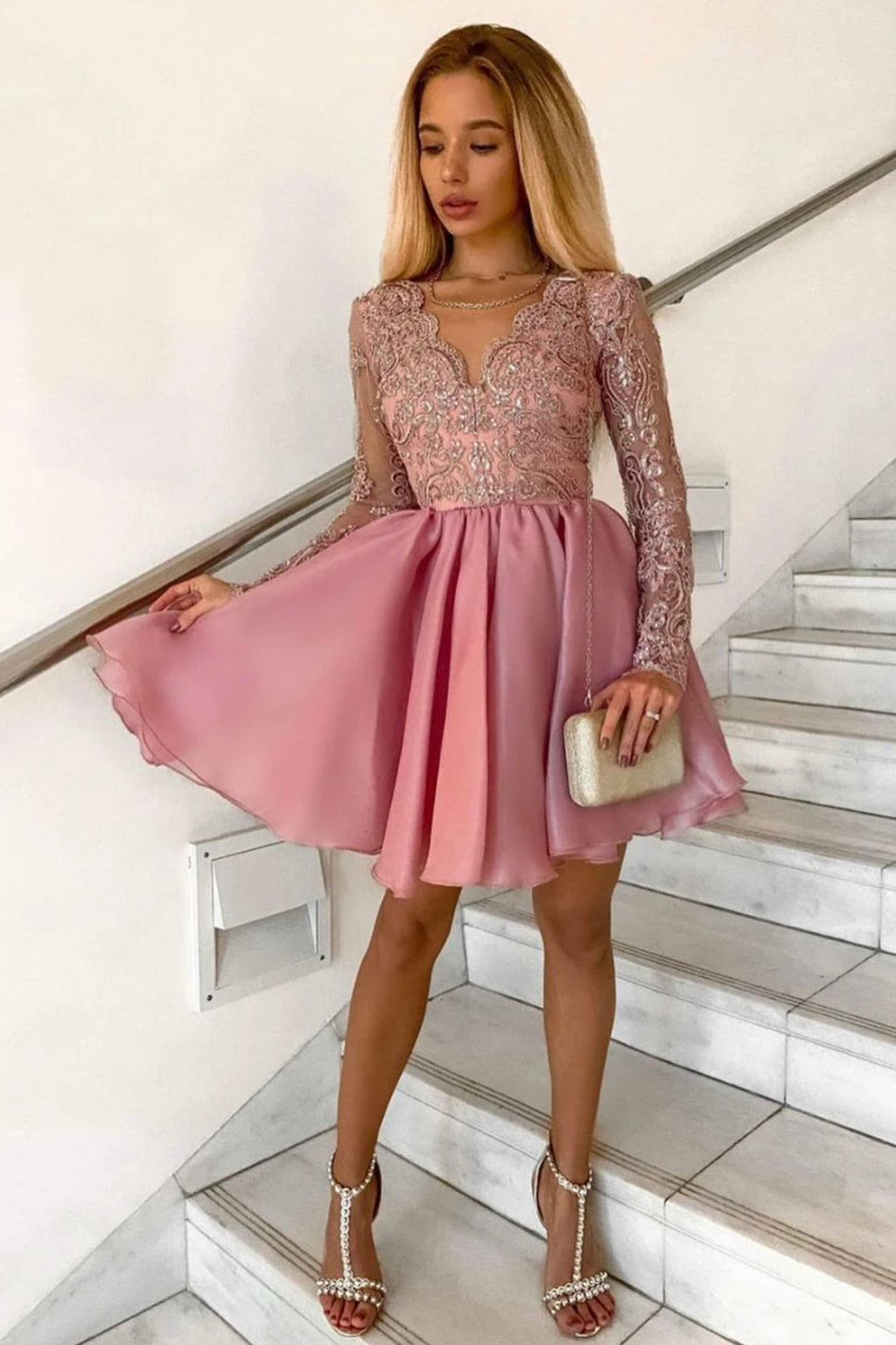 Cute lace short prom dress A line party dress