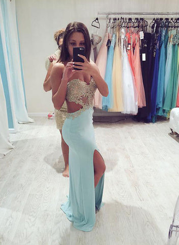 Ice green strapless lace long prom dress, evening dress