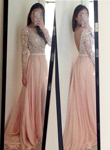 Pink long sleeve lace long prom dress, pink evening dress