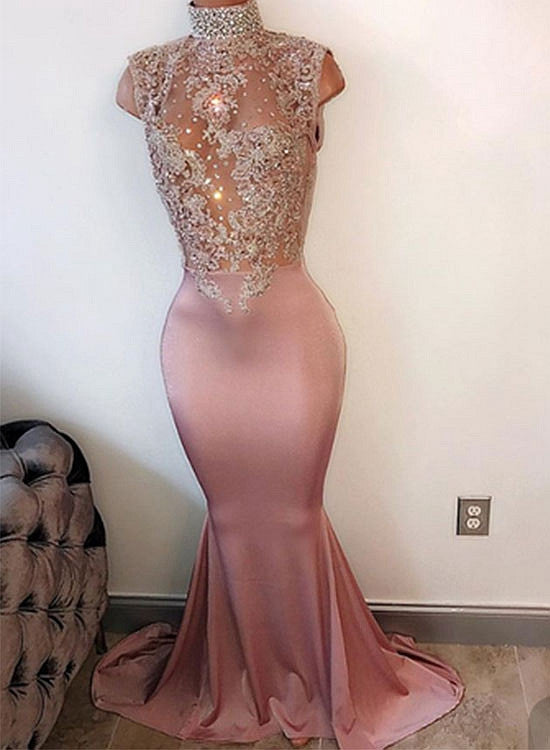 Mermaid high neck lace sequin long prom dress, evening dress