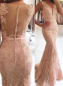 Mermaid lace long prom dress, lace evening dress