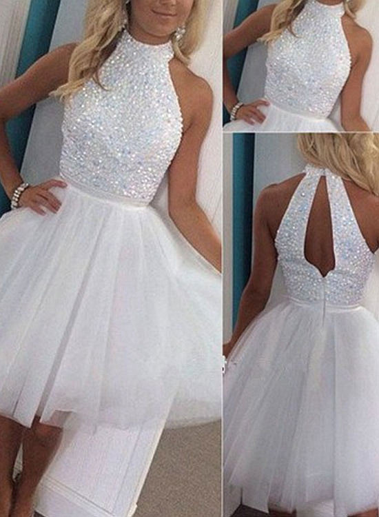 White A line tulle short prom dress, white homecoming dresses