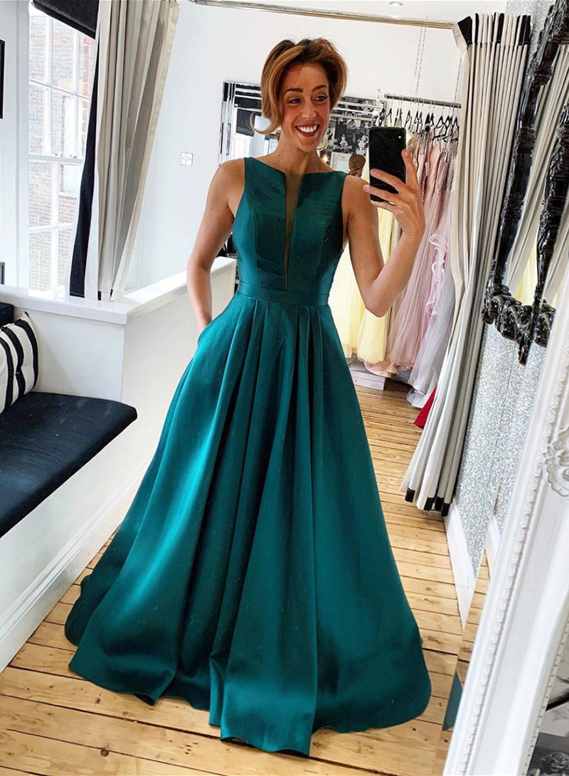 Green satin long prom dress evening dress