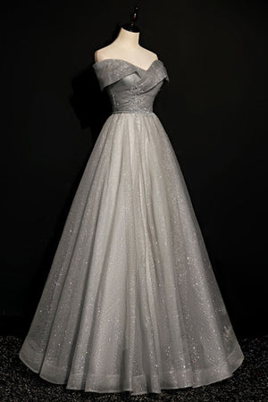 Gray tulle sequins long A line prom dress evening dress