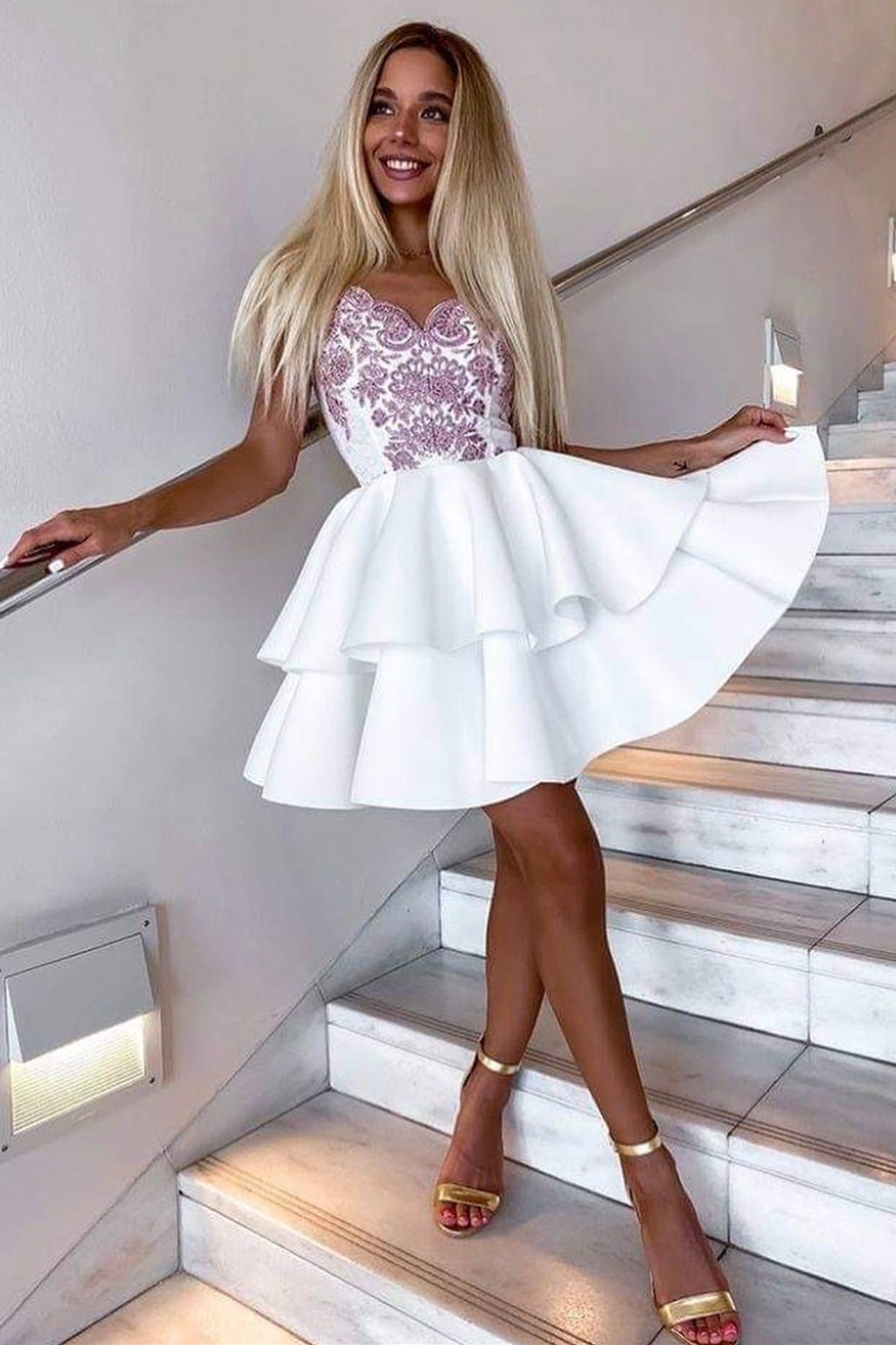 White lace short prom dress A line party dress