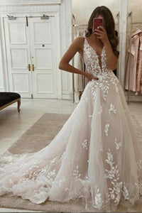 A line v neck lace long prom dress evening dress