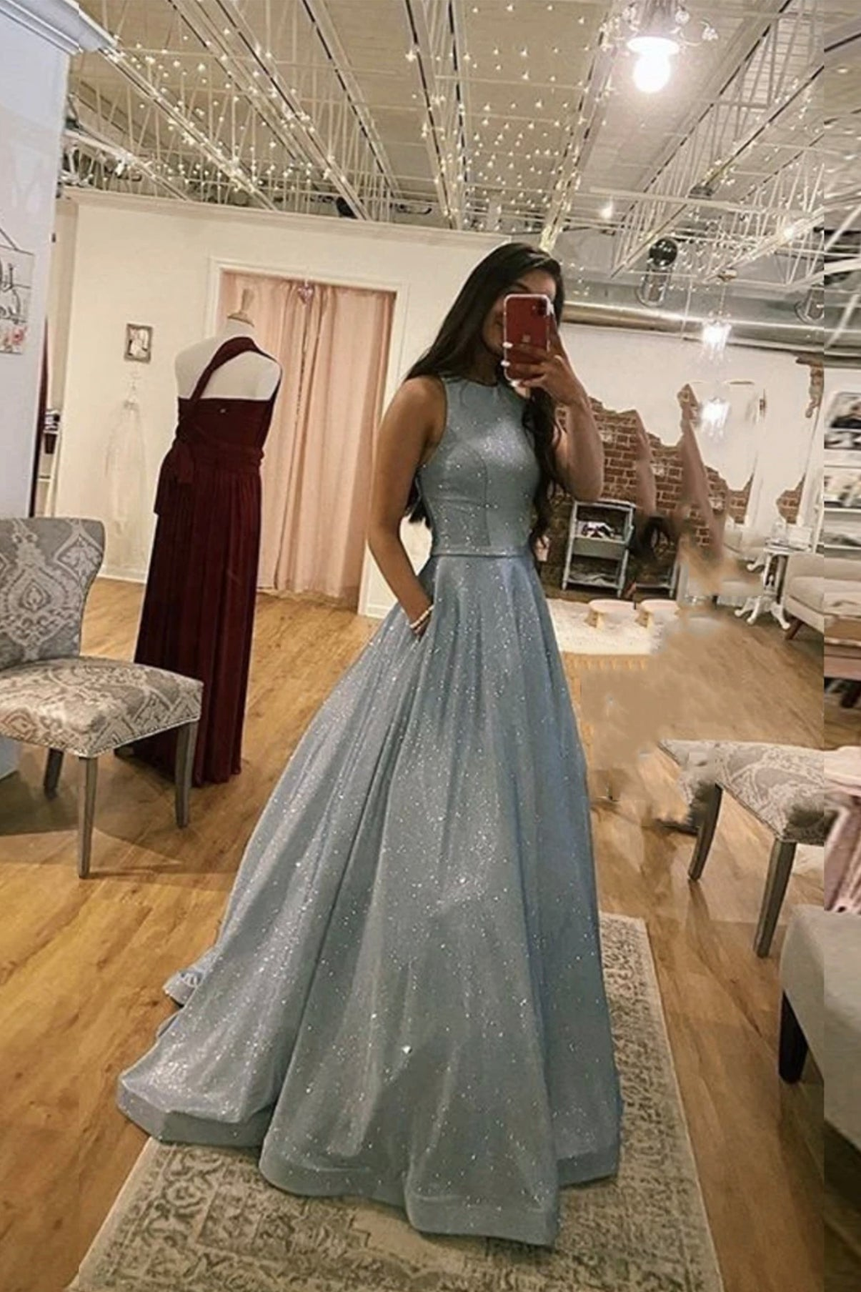 Simple A line long prom dress blue evening dress
