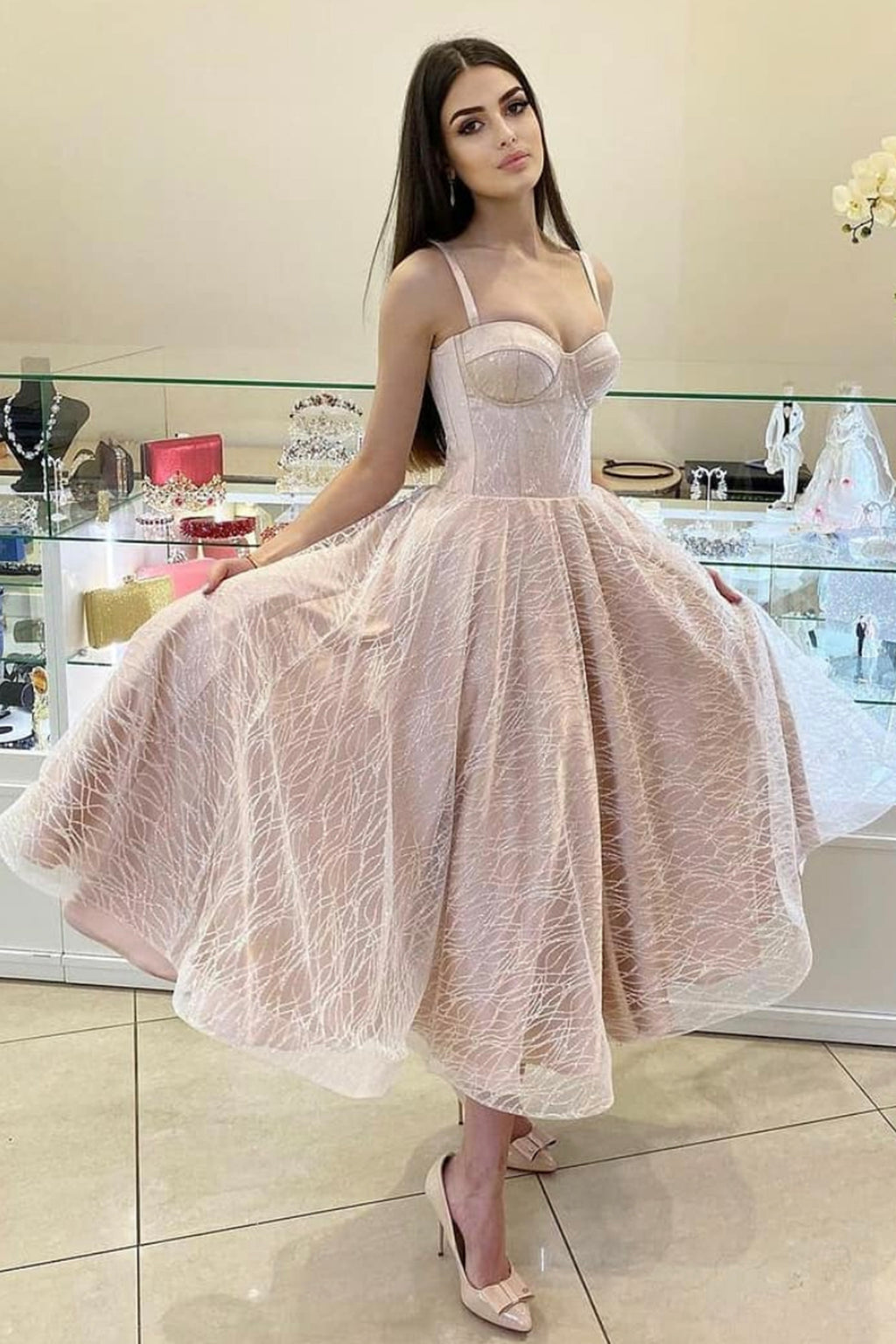 Cute tulle short A line prom dress homecoming dress