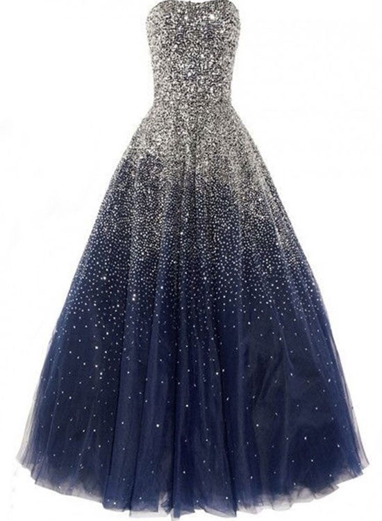 Custom made A line navy blue long prom gown, evening dress