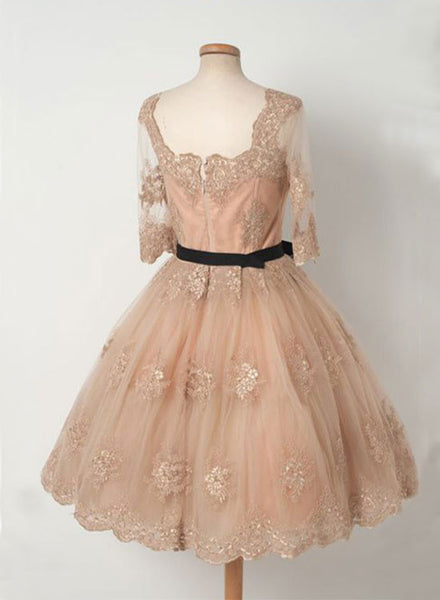 Cute A line champagne lace short prom dress, homecoming dress