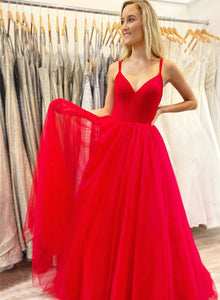 Red v neck tulle long prom dress simple evening dress