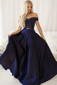 Blue lace long prom dress two pieces evening dress