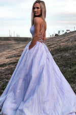 Purple tulle long A line prom dress shiny evening dress