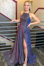 Shiny A line long prom dress simple evening dress