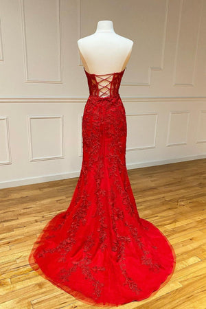 Red mermaid lace long dress evening dress