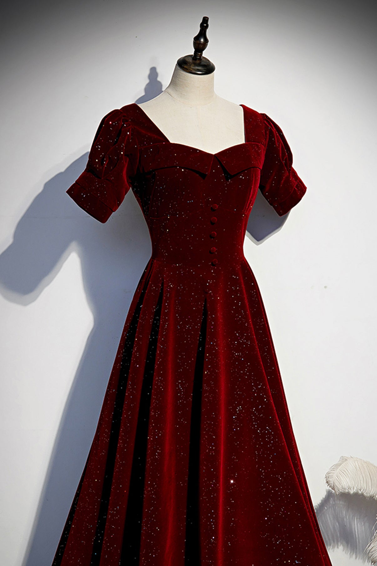 Burgundy velvet long prom dress simple evening dress