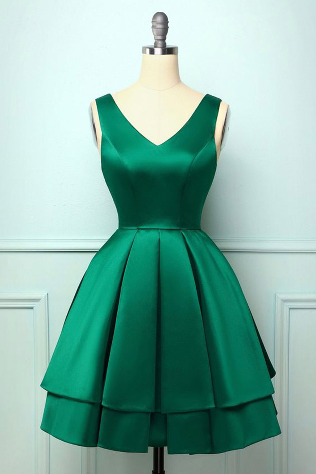 Cute v neck satin short prom dress green party dress
