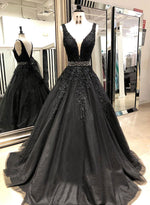 Black v neck tulle lace long prom dress, black evening dress