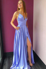 Lilac satin v neck spaghetti straps long prom dress with pockets