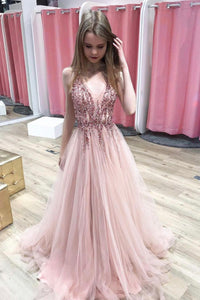 Pink v neck tulle beads prom dress evening dress
