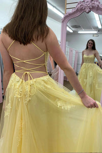 Yellow lace long prom dress A line evening dress