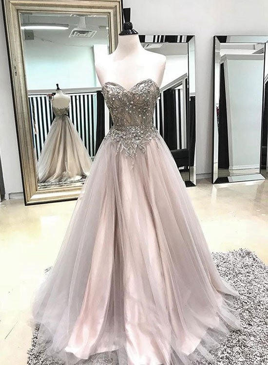 Champagne sweetheart neck tulle long prom dress, evening dress