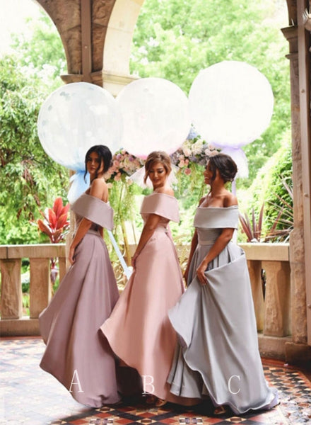 Cute A line off shoulder satin tea length prom dress, bridesmaid dresses