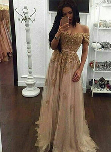 Custom made gold sequin lace off shoulder long prom dress, evening dress