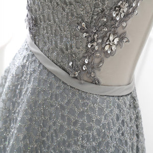 Silver sequins lace short prom dress, homecoming dress