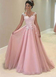 Elegant pink A-line tulle lace long prom dress, pink evening dresses