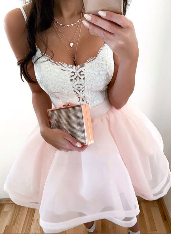 White lace and pink tulle short prom dress, homecoming dress
