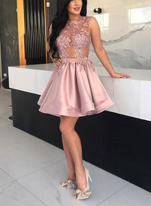 Pink a line round neck lace short prom dress, homecoming dress
