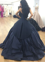 Navy blue satin long prom gown, blue evening dress