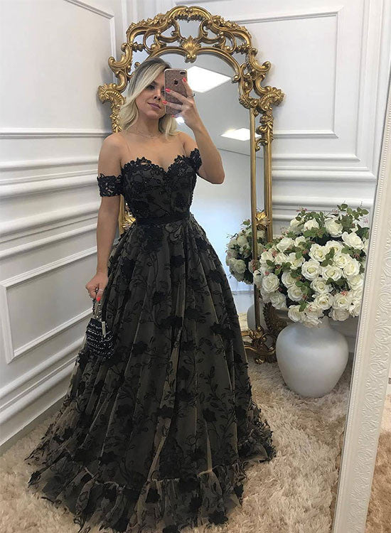 Custom made A line black lace tulle long prom dress, black evening dresses