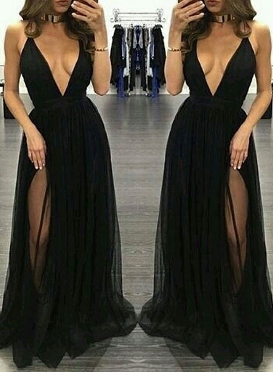 Stylish black v neck tulle long prom dress, black evening dress